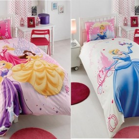 lenjerie de pat copii din bumbac Disney Princess Happily After Ever - Paladin Store