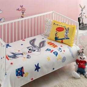 lenjerie de pat pentru bebelusi din bumbac Bugs Bunny Playbaby - Paladin Store