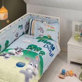 lenjerie de pat pentru bebelusi din bumbac Sylvester and Bugs Baby - Paladin Store