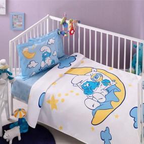 lenjerie de pat pentru bebelusi din bumbac Tac Strumps Moon Baby - Paladin Store