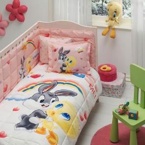 lenjerie de pat pentru bebelusi din bumbac Tweety and Bugs Baby - Paladin Store