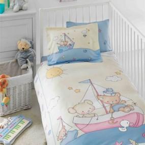 lenjerie de pat pentru bebelusi din bumbac organic Tac Maritime v01 - Paladin Store