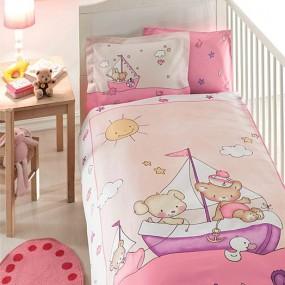 lenjerie de pat pentru bebelusi din bumbac organic Tac Maritime v06 - Paladin Store