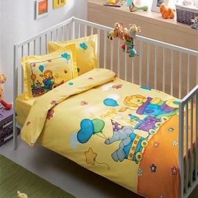 lenjerie de pat pentru bebelusi din bumbac organic tac sweet train - Paladin Store