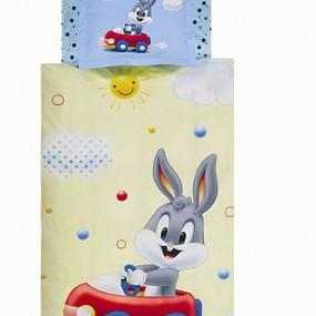 lenjerie de pat pentru bebelusi din bumbac ranforce Bugs Bunny Baby - Paladin Store