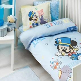 lenjerie de pat pentru bebelusi din bumbac ranforce Mickey Cirque - Paladin Store