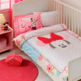 lenjerie de pat pentru bebelusi din bumbac ranforce MINNIE FACE BABY - Paladin Store