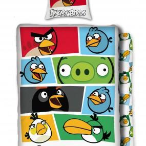 Lenjerie de pat copii bumbac ANGRY BIRDS - ALB