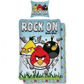 Lenjerie de pat copii bumbac ANGRY BIRDS-ROCK ON